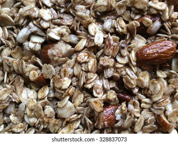 Close up of homemade granola with almonds