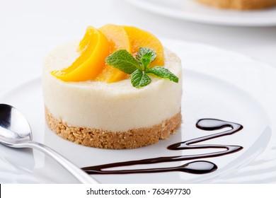 Close up of a homemade no bake cheesecake