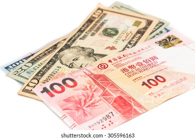 Close up of Hong Kong currency note against US Dollar.