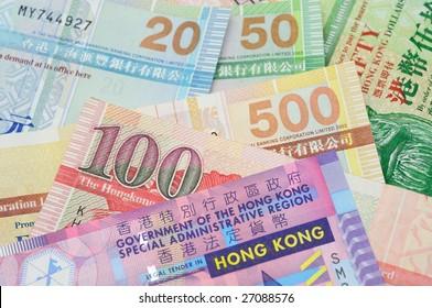 Close up of Hong Kong dollar bank notes
