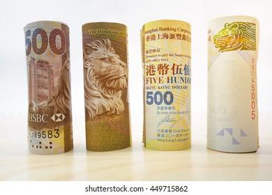 Close up of Hong Kong dollar bank notes , Rolls Hong Kong Dollars banknotes , Hong Kong Currency money