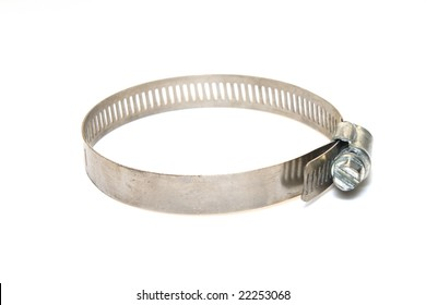 Close up of hose clamps of different sizes on white background
