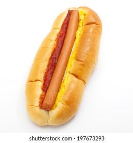 close - up hot dog sausage on white background