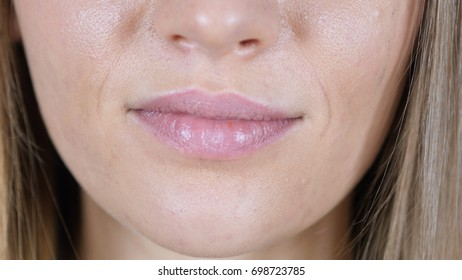 Close Up Of Hot Excited Lips