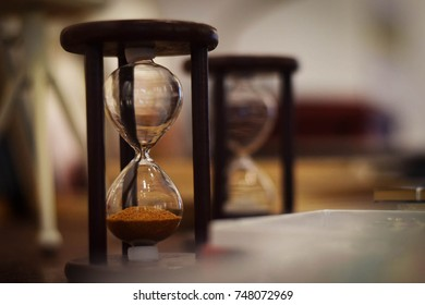 A close up of hour glass with blurred background