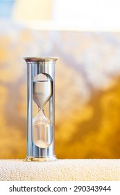 Close up hourglass or sand glass in living room, time value  concept