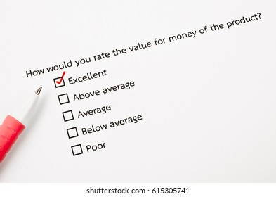 Close up of how would you rate the value for money form with red marker.