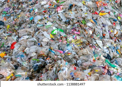 Close up of huge pile of municipal waste  , pile of garbage ; garbage dump . Waste from household in waste landfill