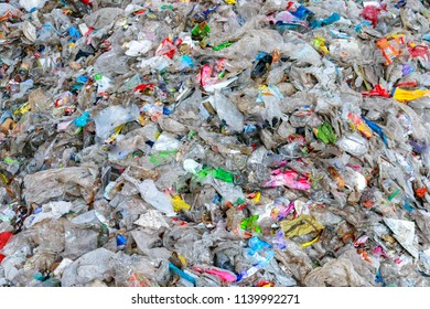 Close up of huge pile of municipal waste  , pile of garbage ,garbage dump , Waste from household in waste landfill , global warming