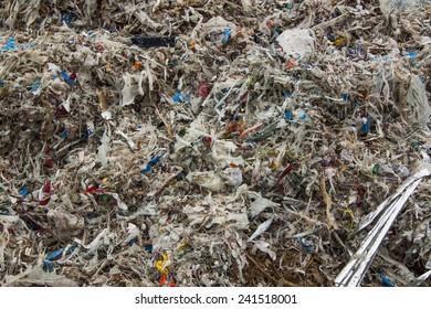 Close up of huge pile of shredded municipal waste