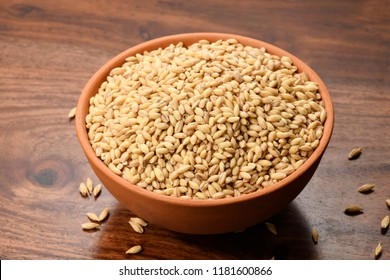 Close up of Hulless Barley in a Earthen Bowl