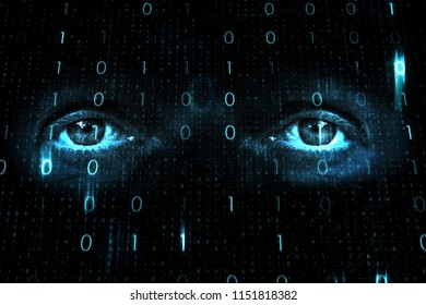 Close up of human eyes on digital computer binary numbers network background.