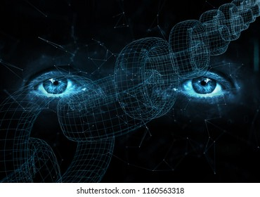 Close up of human eyes on digital computer blockchain chain background.