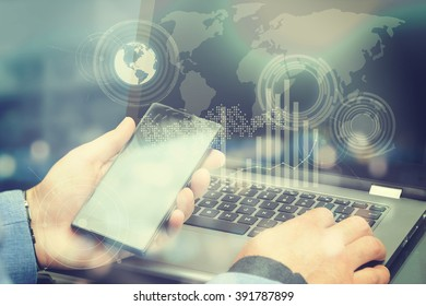 Close up of human hand with laptop