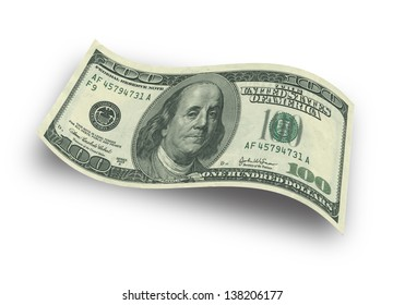 Close up hundred dollar banknote on white background
