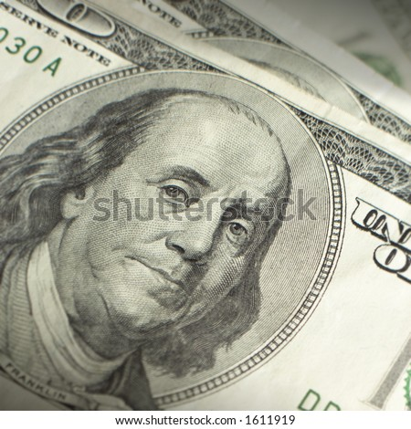 Close up of hundred dollar bill.