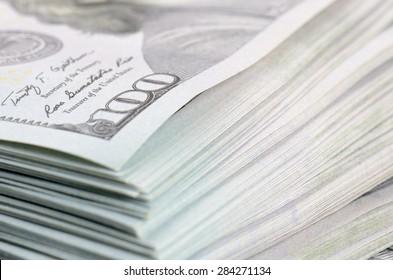 close up hundred dollars bank notes background