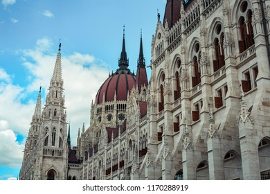 Close up of the Hungarian Parliament Building in Budapest Hungary