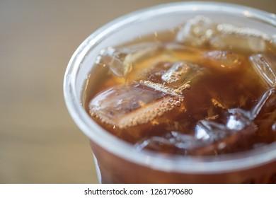 Close up ice of americano or black coffee