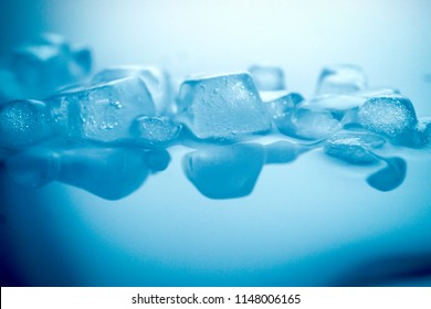close up ice texture in blue color for water, freshness and drinking concept background