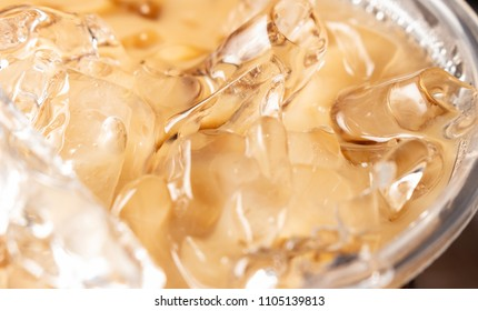 Close up iced coffee in glass