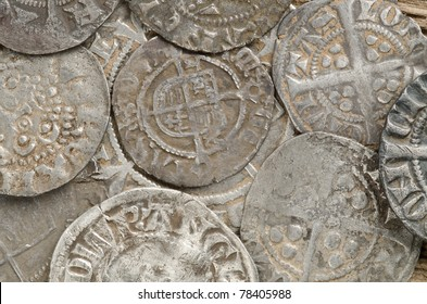 close up image of ancient English hammered sliver coins