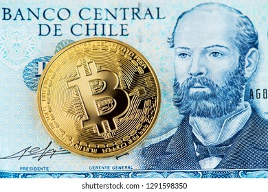 Close up image of bitcoin with Chile pesos banknotes. Bitcoin Cryptocurrency Digital Bitcoin BTC Currency Technology Business Internet Concept Chile Pesos Money Banknotes Blockchain