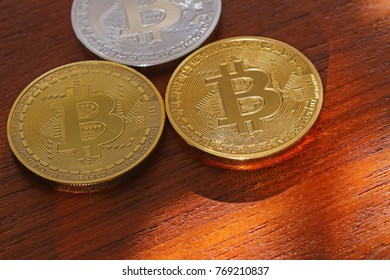 Close up image of a Bitcoins in a group.