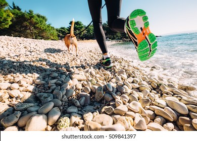 Close up image canicrosser legs weared run shoes on the sea coast