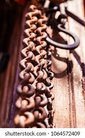 The close up image of chain hook on the wooden ground