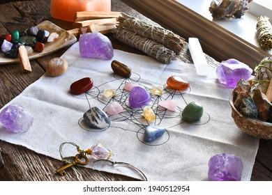 A close up image of a chakra healing grid using sacred geometry.