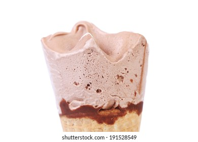 Close up image of chocolate ice cream. Isolated on a white background.