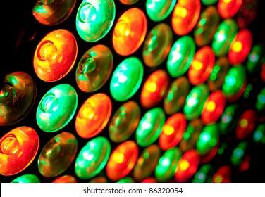 close up image colored LED bulbs