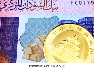 A close up image of a colorful Sudanese fifty pound bank note with a gold Chinese panda coin in macro