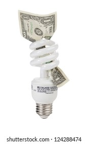 Close up image of compact fluorescent light bulb with dollar against white background (foreign text on bulb)