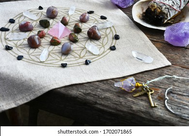 A close up image of a crystal energy healing grid.