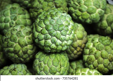 Close up image of custard apple fruit to sell at the market at Thailand.