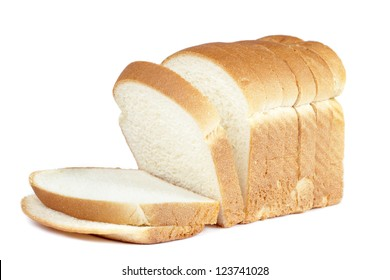 Close up image of cut of loaf bread on white against white background