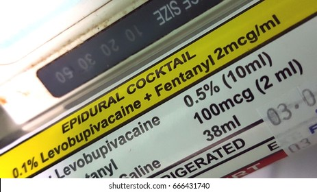 Close up image of epidural cocktail syringe infusion.
