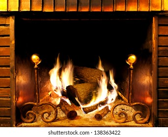 close up image of fireplace and wood burning