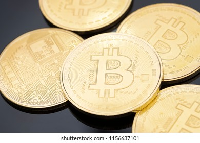 Close up image of golden Bitcoins (new virtual money)