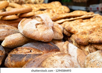 A close up image of Hand made bread with seeds on in Jerusalem farmer market, Israel.