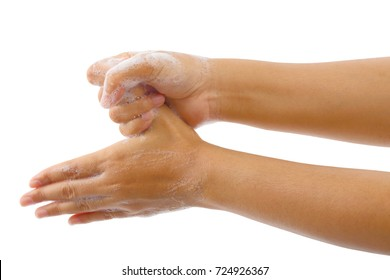 Close up image of hand washing medical procedure step Isolated on white background.