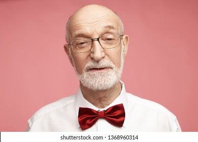 Close up image of handsome charming mature seventy year old male with wrinkles, bald head and thick gray beard looking at camera with wise facial expression against pink studio wall background