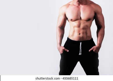 Close up of image of a handsome young muscular sports man