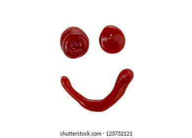 Close up image of happy face made of ketchup