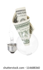 Close up image of light  bulb with dollar against white background