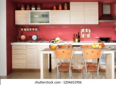 Close up image of modern domestic kitchen design