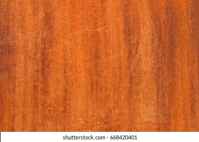 Close up image on brown grunge stain on a rusty iron wall, rust texture, corrosion pattern as background, overlay for art work