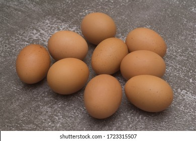 Close up image of organic chicken eggs over grunge surface. Organic chicken eggs concept. Selective focus.